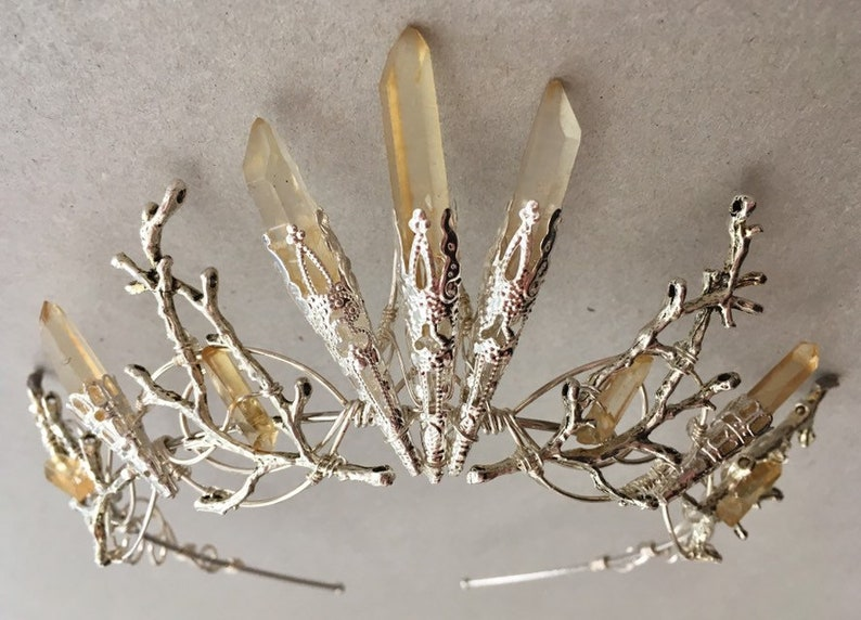 The CECILY Lemon Quartz Tiara Crown  Wedding Game of image 0
