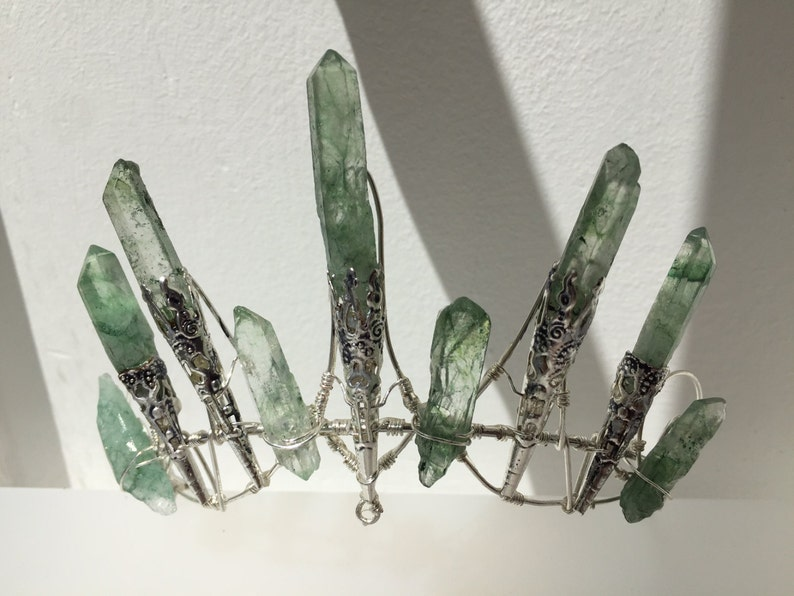 The IVY Crown  Magical GREEN Quartz Crown Tiara  Ethereal image 0