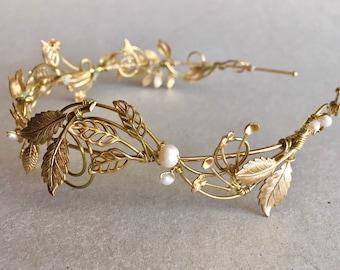 The VERITY Leaf and Pearl Hair Vine Headpiece Headband Bridal Prom Bridesmaid Boho Edwardian Gold Seed Pearls