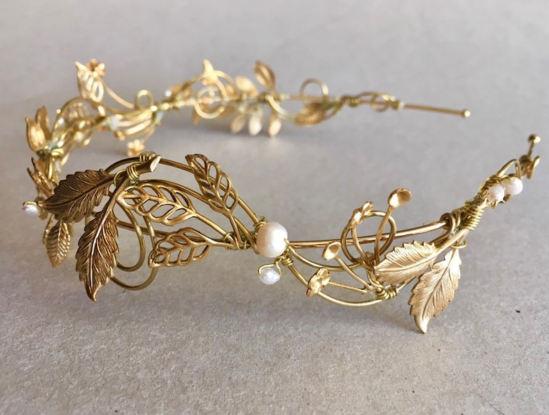 The VERITY Leaf and Pearl Hair Vine Headpiece Headband Bridal image 0