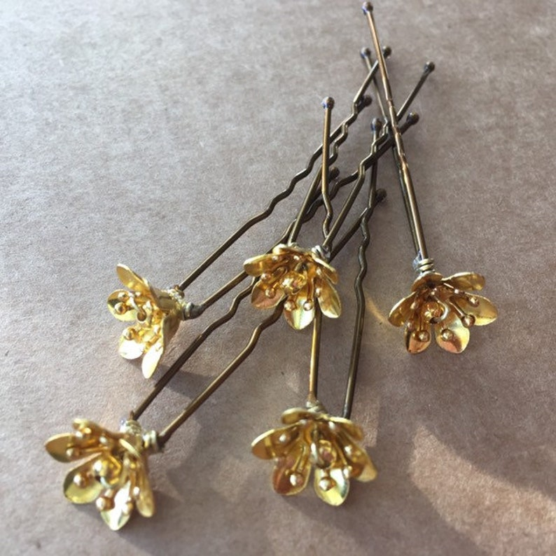 Flower Hairpins  Small Individial Pins for Bridal Prom image 0