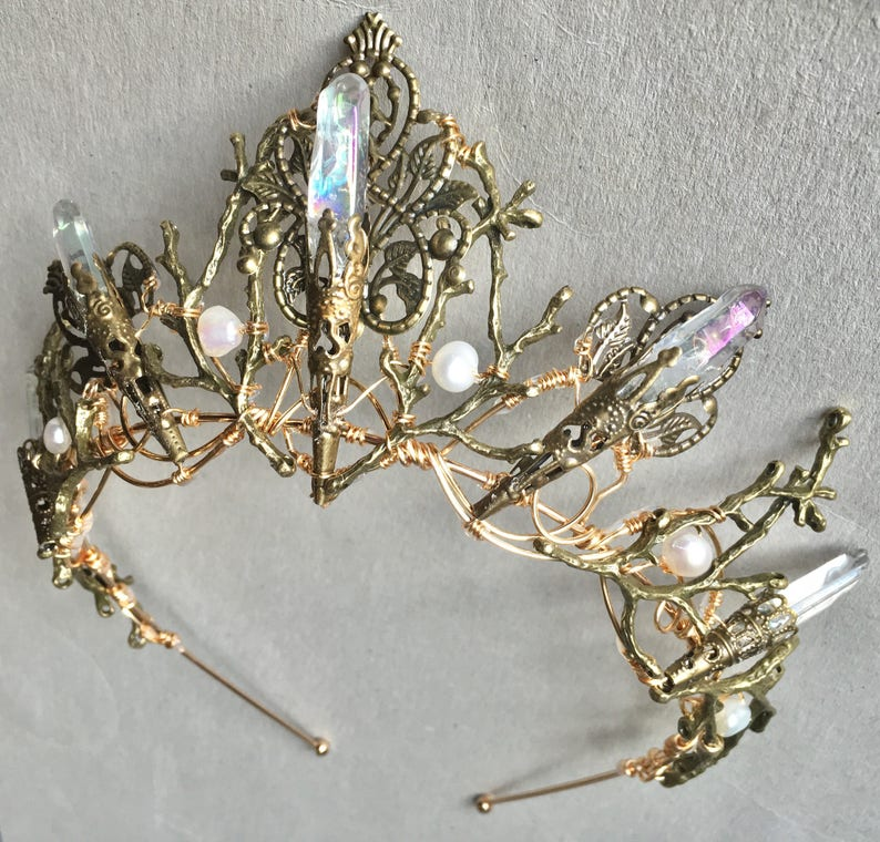 The EVANGELINE Crown Angel Aura Rainbow Quartz Crystal image 0
