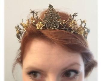 The EFFIE Crown - Woodland Vintage Flower Tiara Headband. Steampunk, Floral, Elegant, Bohemian. Bride, Bridesmaid, Prom. Flower Crown.