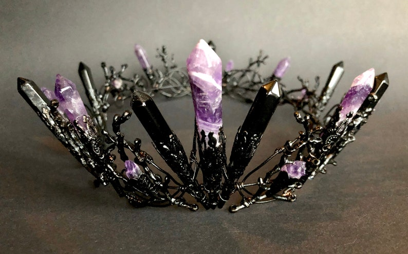 The SERAPHINA Amethyst and Onyx Black Full Crown Witchy Goth image 0
