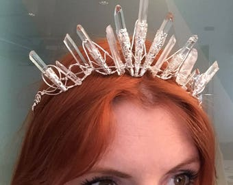 The AMBER Crown - Magical Natural Rock Crystal Quartz  Crown Tiara - Ethereal Alternative Wedding Bridal Headdress