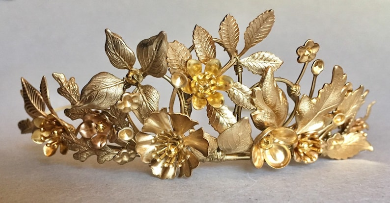 The SOFIA Leaf Flower Crown Tiara Diadem  Gold Vintage image 0