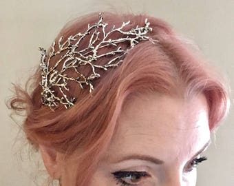 The BETTY Headpiece - Branch Twig Antler Woodland Ethereal Natural Crown Headband Fascinator