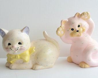Pastel Cat Coin Banks- vintage white heart kitten
