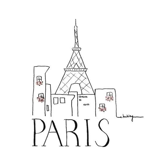 City Sketch Paris Black And White Illustration Etsy