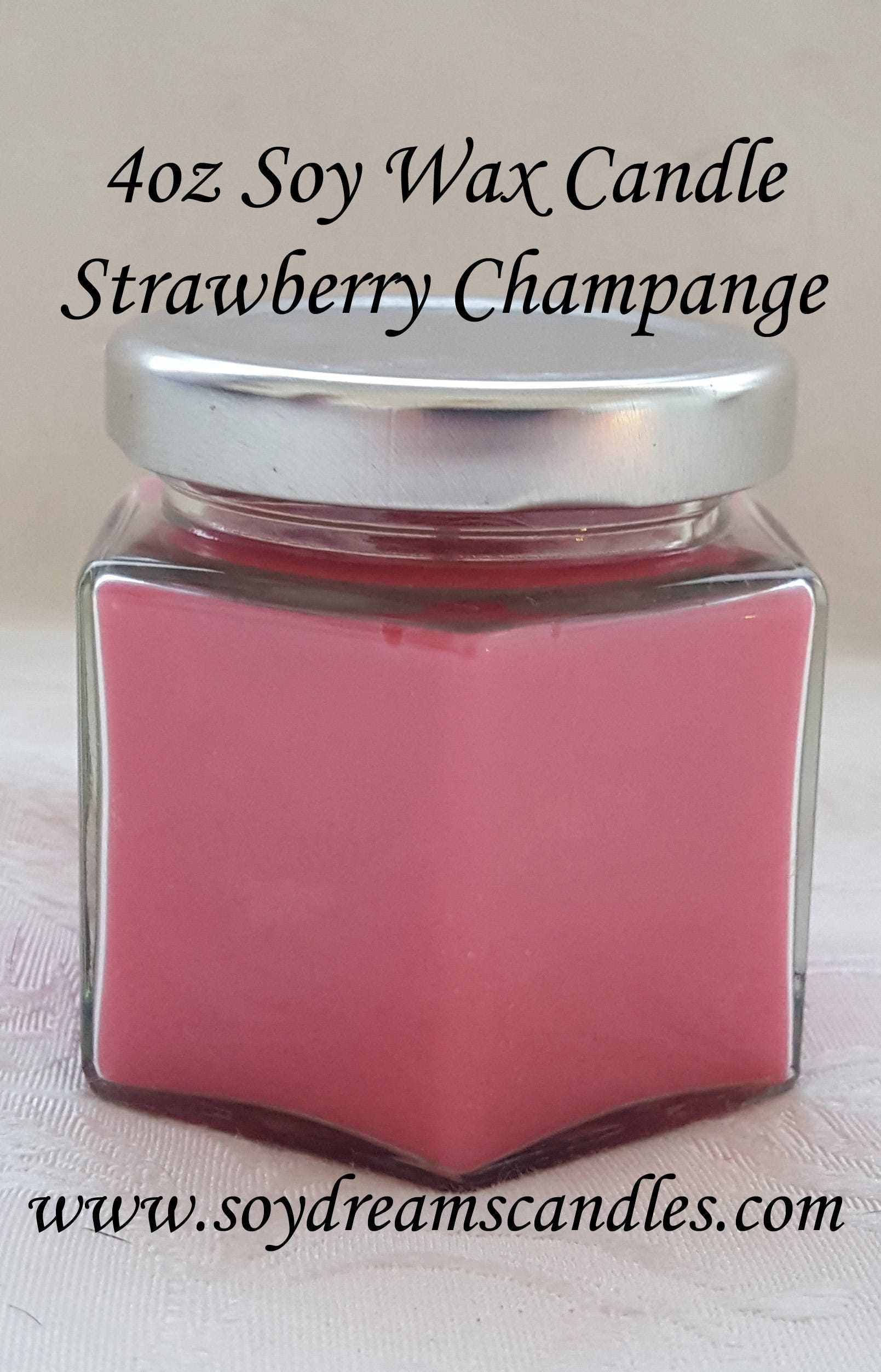 Strawberry Champagne 4oz Gift Size Soy Candle Jar - Best Scented ...