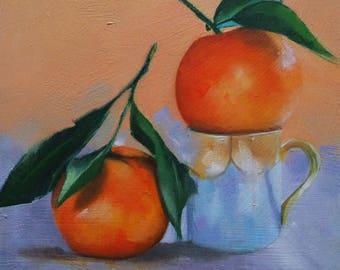 Original small oil painting of mandarin oranges,small fruit painting