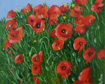 Oil painting of poppies, flower painting, floral