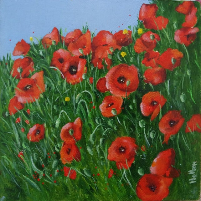 Oil painting of poppies flower painting floral etsy image 0 mightylinksfo