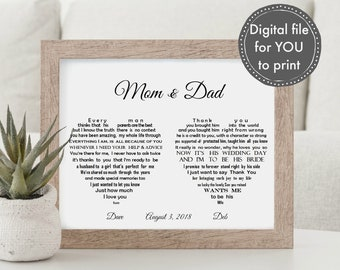 parents of the groom gift from bride and groom printable parents of the bride wedding gift parents wedding gift parent thank you gift