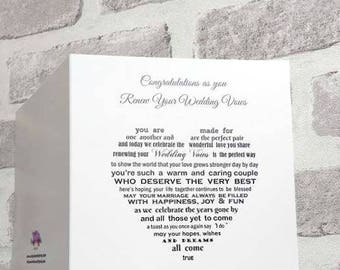 Renew vow cards, Vow Renewal card, Renewing your vows, congratulations, renew vows