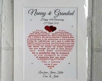 Ruby Anniversary Gift, Grandparents Ruby Anniversary Gift, Parents 40th Wedding Gift, Grand parents Ruby gift, Personalised Anniversary gift
