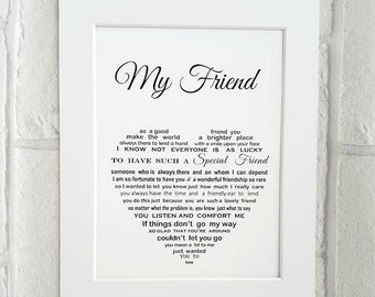 Friend Gift Unframed 10x8 Print Best Personalised Birthday For Poem Christmas