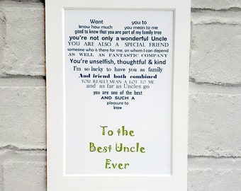 Uncle Gift For Unframed Birthday Personalised