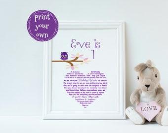 1st Birthday Keepsake Printable First Gift For Babys Girls Girl