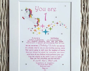 Girls First Birthday Unframed Print Unicorn 1st Gift Grandchild Godchild Niece A4