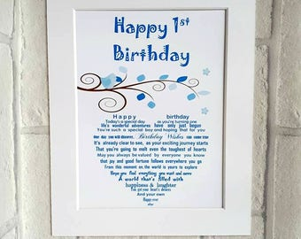 1st Birthday Baby Boy Babys First Gift Keepsake For Little Present Unframed Poem