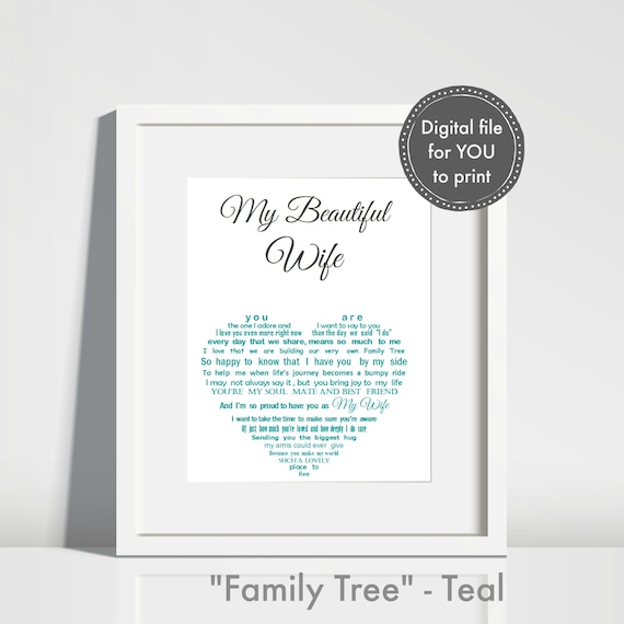 Personalised Wife Gift print your own Anniversary Gift for | Etsy