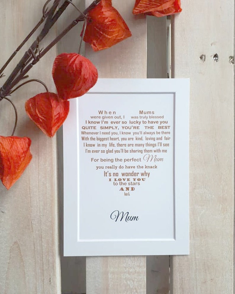 Mothers Day Gift Unframed Personalised For Mum On