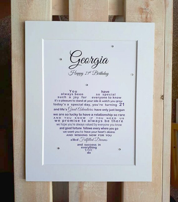 Niece 21st Birthday Gift Personalised