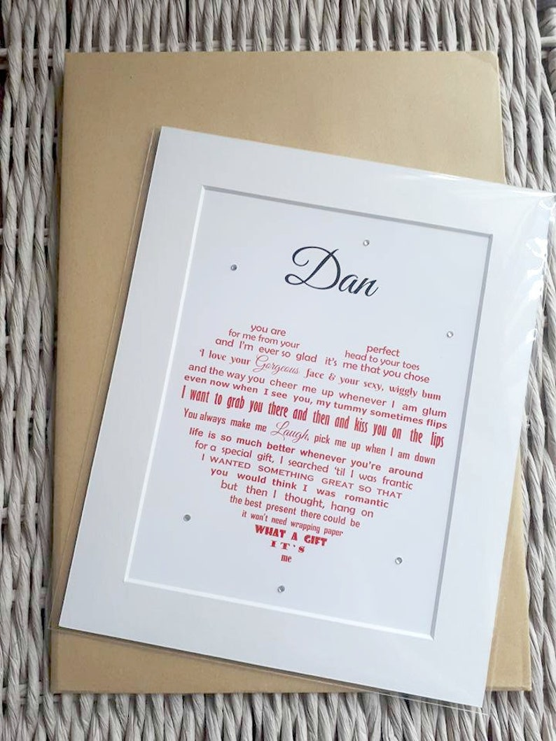 Husband Birthday Gift Gifts UNFRAMED Personalised Christmas Anniversary I Love YOu