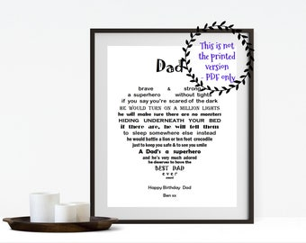 Birthday Gift for Dad, Printable Father's Day Gift, Personalized Daddy gift, Fathers Day Gift for Dad, Daddy Birthday gift,  Daddy Birthday