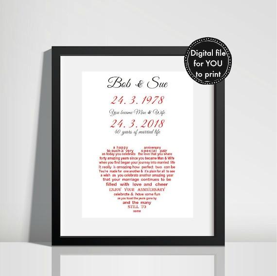 Ruby Wedding Anniversary Gift Printable Ruby Anniversary Etsy