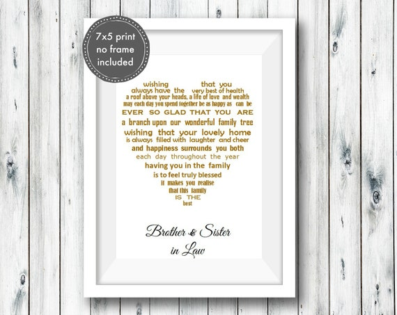 Christmas Gifts For Brother And Sister In Law.Brother And Sister In Law Gift Unframed Brother Christmas Gift Personalised Poem Print Brother And Sister Anniversary Family Anniversary