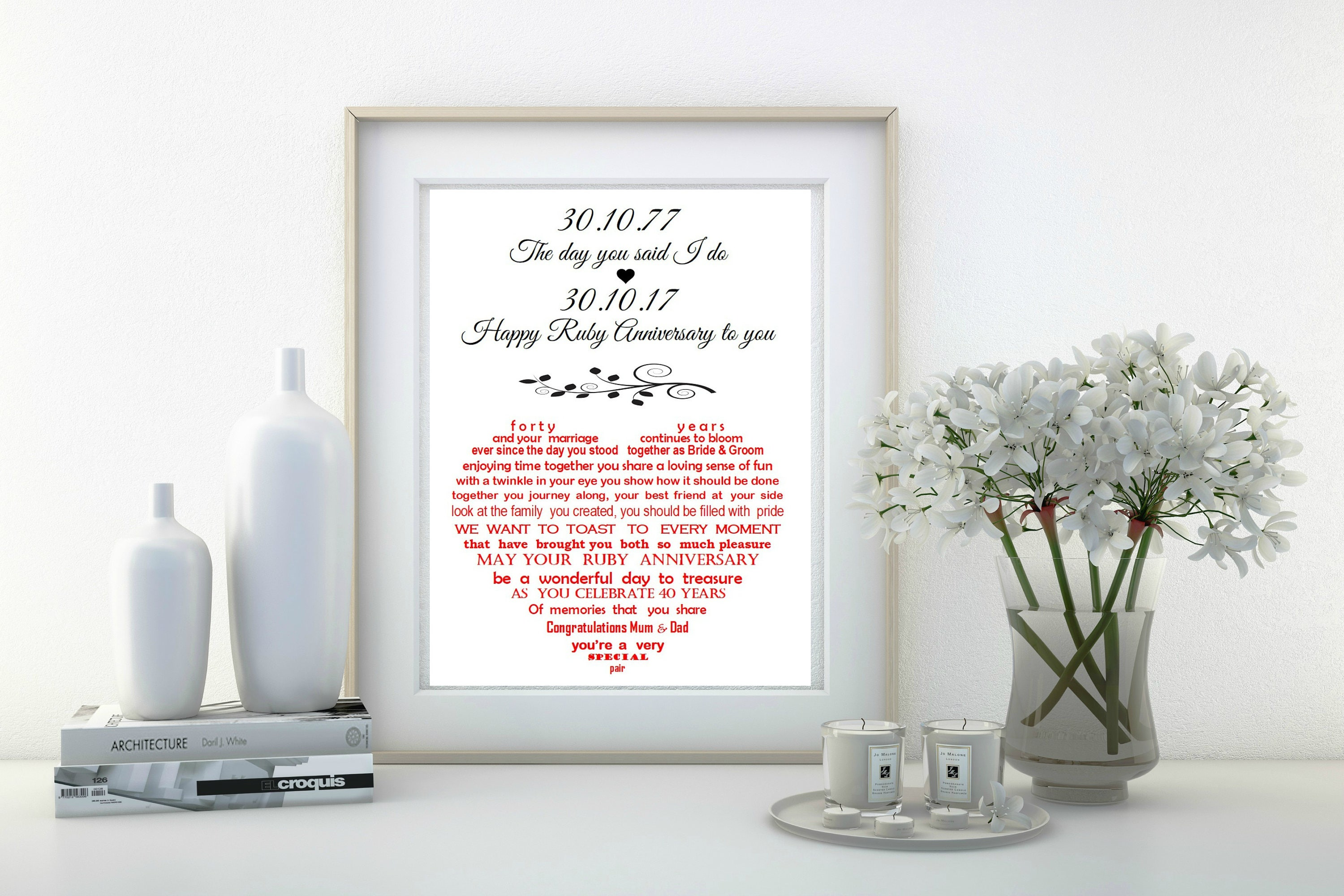 Ruby Wedding Anniversary Gifts: Ruby Anniversary Gift For Parents Parents Golden Wedding