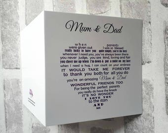Mum + Dad card, card for parents, christmas card, anniversary card for mum and dad