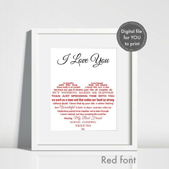 Husband Birthday Printable Personalised Gift Anniversary Valentines Day Partner Boyfriend Fiance