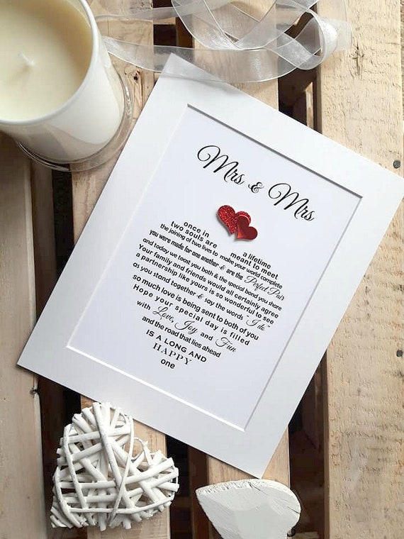 Lesbische Huwelijksgeschenk Ingelijst Hetzelfde Geslacht Huwelijksgeschenk Lesbisch Paar En Mevrouw En Mevrouw Bruid Bruid Cadeau Huwelijkscadeau