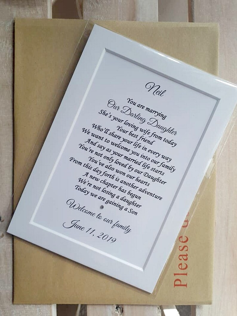Son In Law Wedding Gift Unframed Son In Law Print Welcome Etsy