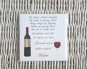 Friend Card, Funny Friend Card, Funny Card, Wine, Bingo Wings, Funny Birthday card, Birthday Card for her, Birthday card for friend