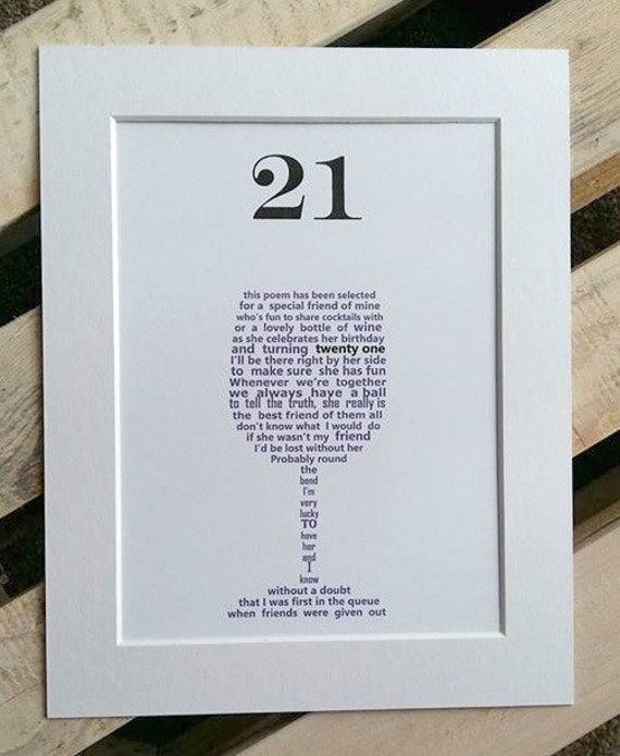 21st Birthday Gift For Her Friend Personalised Gifts