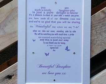 Bridesmaid Gift, Bridesmaid Daughter , gift from Mom to daughter, Daughter Bridesmaid gift, thank you wedding gift to daughter
