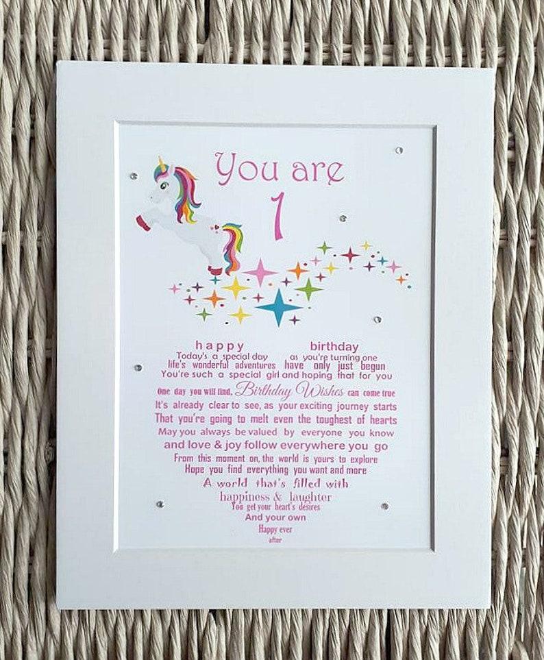 Girls First Birthday Unframed Print