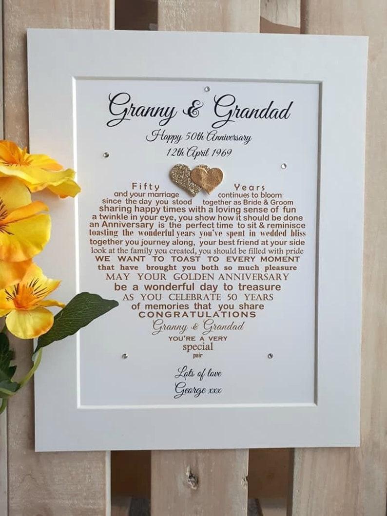 Großeltern Goldene Jahrestagsgeschenk Ungerahmt Großeltern Etsy