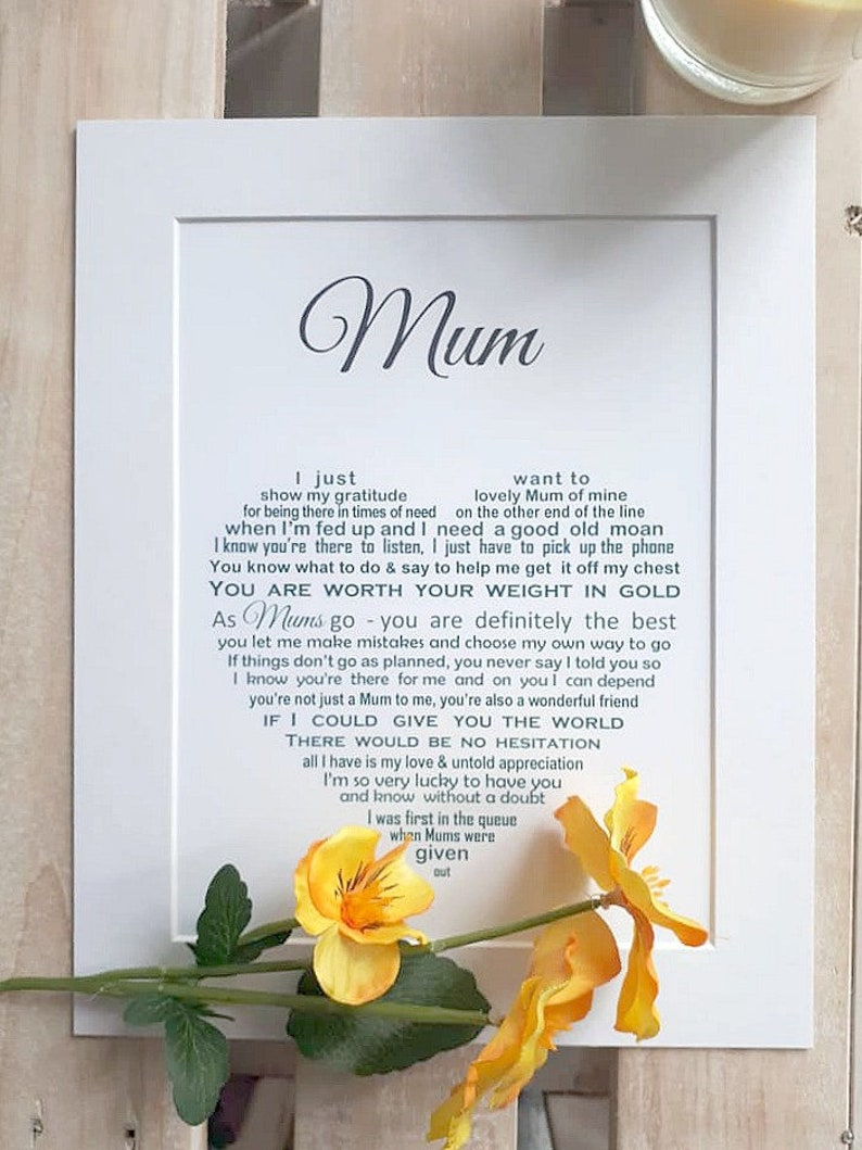 Personalised Gift For Mum Unframed Mothers Day