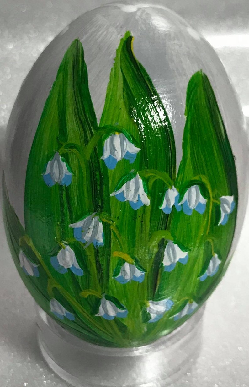 Hand painted Lilies of the Valley Easter Egg on stand