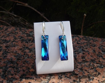 Silver earrings, sterling silver and Crystal sparkly blue