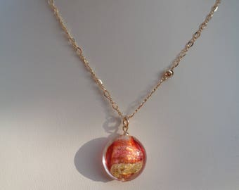 Necklace with Murano glass, red gold 585 gold filled