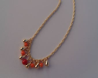 Gold chain with coral, 585 gold filled
