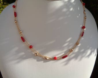 Gold chain with coral, 585 gold filled, double row