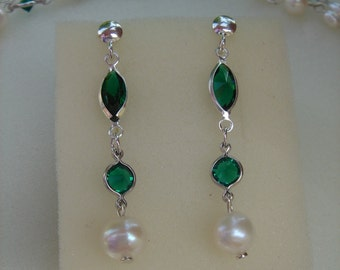 Pearl Earrings, silver, sparkly crystal mt
