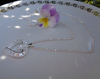 Silver necklace with heart, heart necklace, sterling silver and Crystal sparkly studded